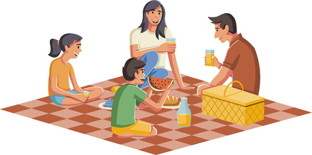Cartoon family having picnic with juice and food.