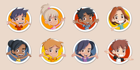 Group of happy cartoon kids