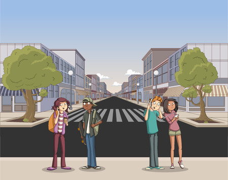 Street of a city with cartoon young people Stock Illustratie