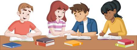 Estudiantes adolescentes de dibujos animados con libros. Niños estudiando.