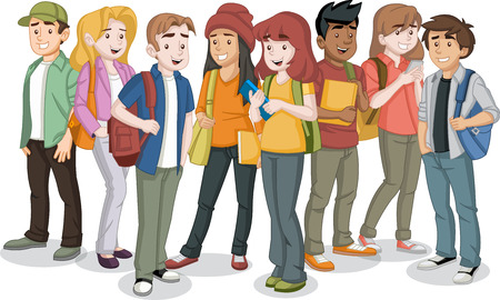 Cartoon teenager students with books and backpack. Illustration