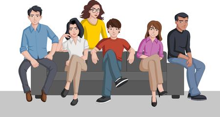 Group of cartoon people seated on a sofa Foto de archivo - 109283450