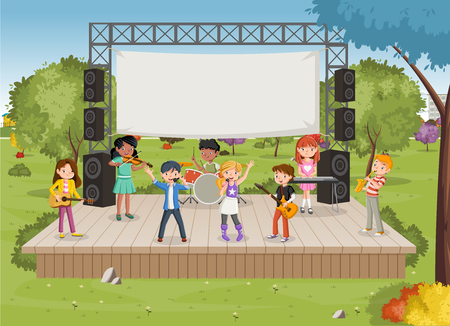 Band with cartoon children playing music on stage in the park Stock Vector - 109259036