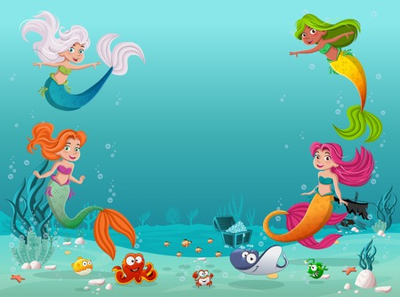 Mermaid children swimming with fish under the sea. Underwater world with corals.