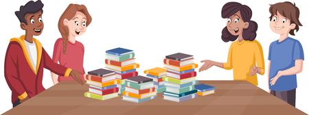 Adolescents de dessin animé autour de la table avec de nombreux livres. Heureux les jeunes. Vecteurs