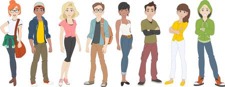 Groep cartoon jongeren. Tieners
