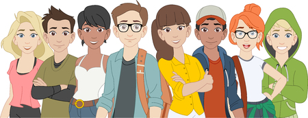 Group of cartoon young people. Teenagers Illustration