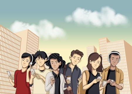 People in the city with smart phones  イラスト・ベクター素材