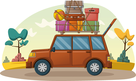 Cartoon car with suitcases on car roof. Car with travel cases. Ilustracja