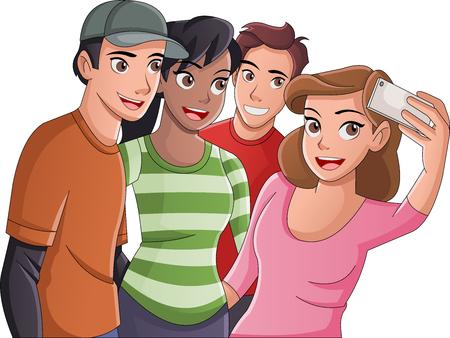Gruppe von jungen Cartoon-Leuten, die Selfie-Foto machen. Bild von Teenagern.
