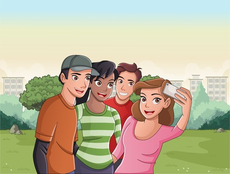 Group of cartoon young people taking self photo in the park.