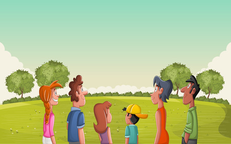 Group of people looking at green park with grass and trees. Illustration