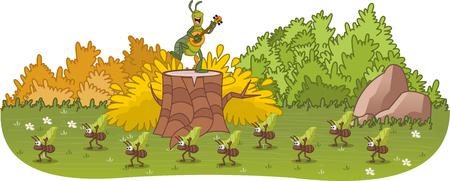Die Ameise und der Grashüpfer. Märchenfiguren.
