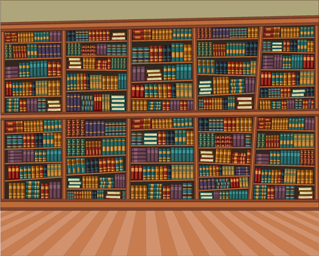 Big cartoon library with many books.