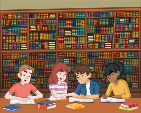 Cartoon teenager students with books on big library. Kids studying. Ilustração