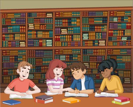 Karikaturjugendstudenten mit Büchern auf großer Bibliothek. Kinder lernen. Vektorgrafik