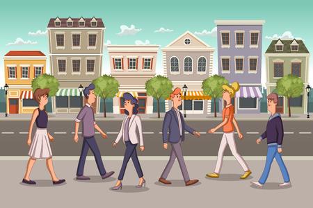 Strada di una città colorata con uomini d'affari dei cartoni animati