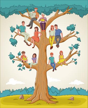 Stammbaum mit Menschen. Cartoon-Familie auf Stammbaum.