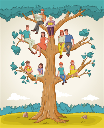 Family tree with people. Cartoon family on genealogical tree. Illustration