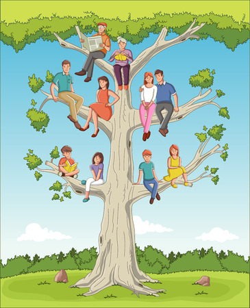 Family tree with people. Cartoon family on genealogical tree.