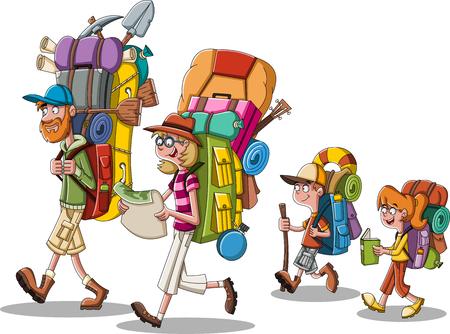 Famille de dessin animé avec de gros sacs à dos. Personnes transportant des engins de camping.