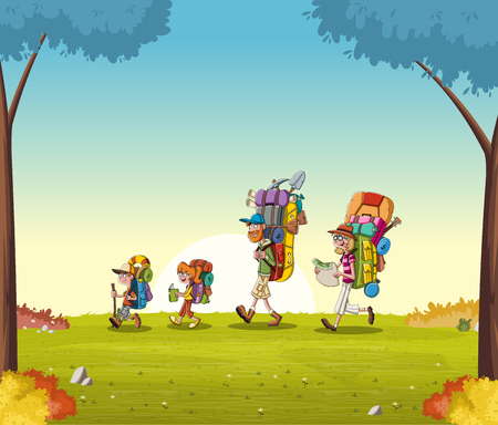 Cartoon family with big backpacks on green park.
