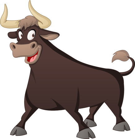 Cartoon cute bull.