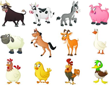 Group of farm cartoon animals.