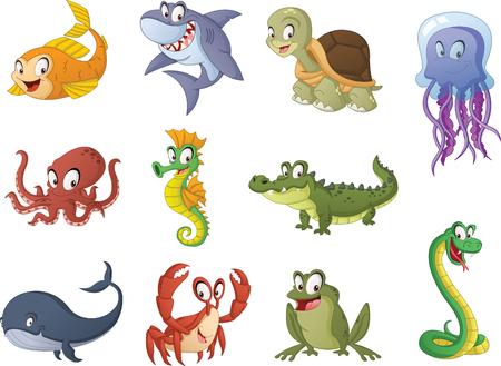 Group of cartoon fish, reptiles and amphibians. 일러스트