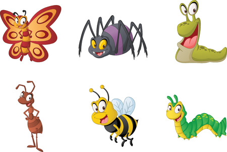 Group of cartoon insects.