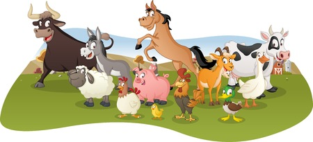 Group of farm cartoon animals.