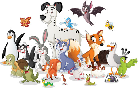 Group of cartoon animals.