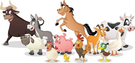 Groupe d'animaux de dessin animé de ferme. Vecteurs