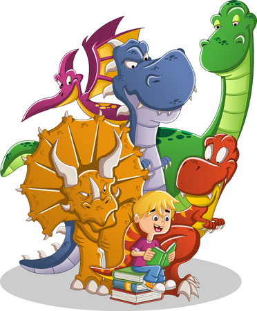 Cartoon boy reading a book to big dinosaurs.