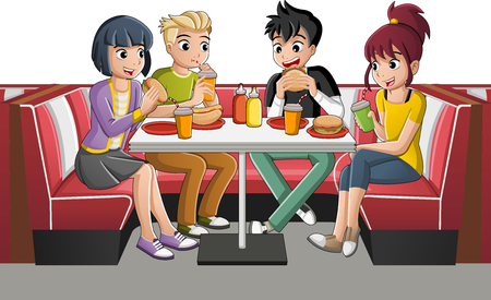 Group of cartoon teenagers eating junk food at diner table. Çizim