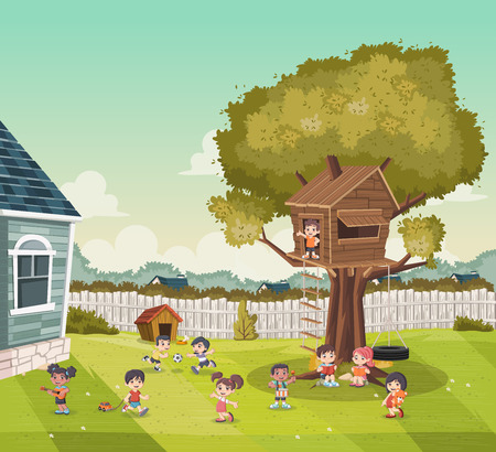 Cartoon kids playing in the backyard of a colorful house in suburb neighborhood. Sports and recreation.