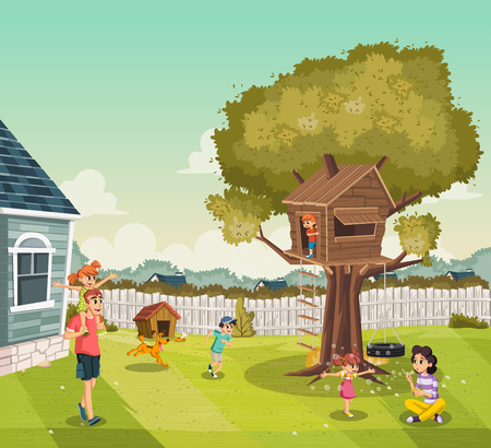 Cartoon family on the backyard of a colorful house in suburb neighborhood. Tree house on the backyard.