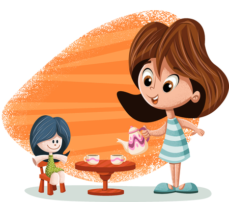 Cute happy cartoon girl playing with doll. 일러스트