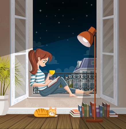 Young woman reading book in the window at night. 일러스트