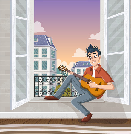 Young man playing guitar in the window.