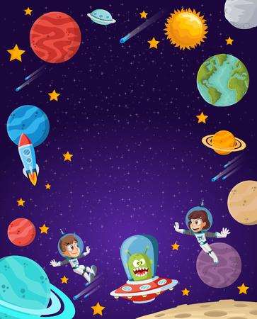 Niños de dibujos animados de astronautas volando en el espacio. Nave espacial alienígena. Ilustración de vector