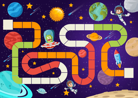 Board game with astronaut cartoon children and alien flying in the space. 일러스트