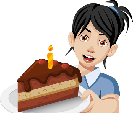 Cartoon woman holding a slice of birthday cake on a plate.