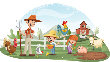 Cartoon people and animals on the farm. 일러스트