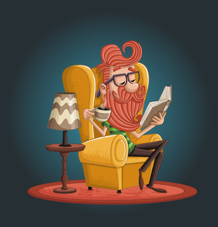 Cartoon bearded man reading book and drinking coffee.