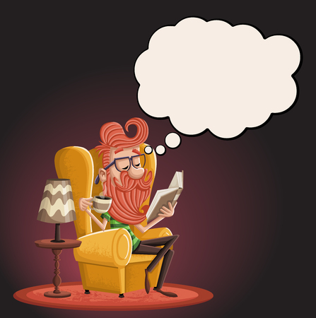 Cartoon bearded hipster man reading book and thinking. 일러스트