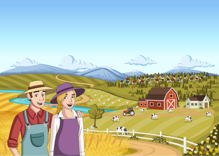 Cartoon farmers. Couple in front of colorful farm with barn, crops and cows.
