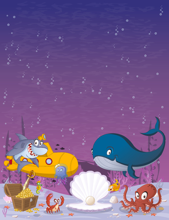 Cartoon underwater world with corals, fish and ocean creatures. 일러스트
