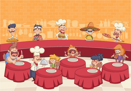 Restaurant with hungry clients on tables and cartoon chefs cooking and holding tray with food. 일러스트
