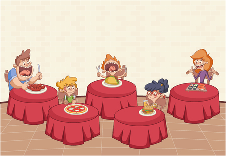 Cartoon restaurant with hungry clients on tables. 일러스트